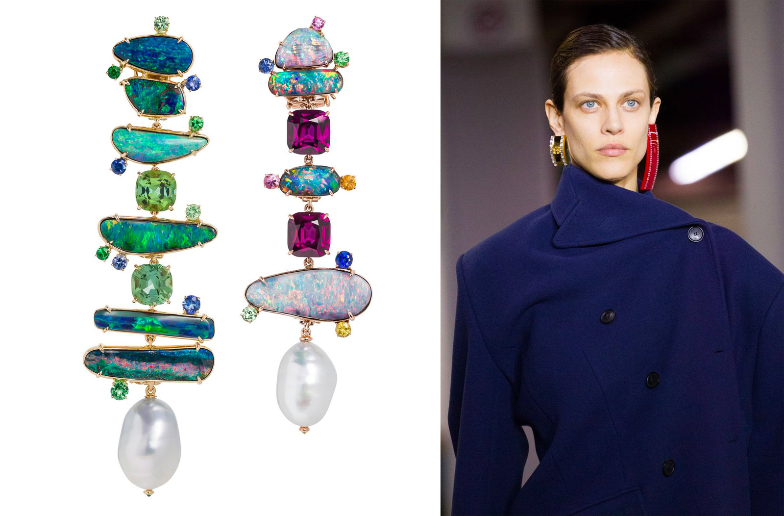Margot McKinney opal and pearl earrings and Balenciaga Fall/Winter 2018 look