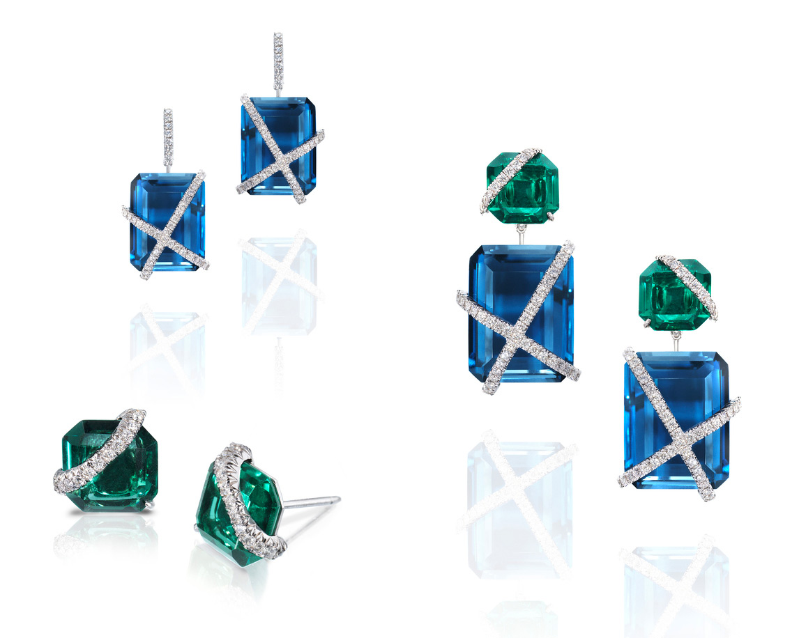 Rachael Sarc Leigh earrings with blue topaz, green quartz and diamonds
