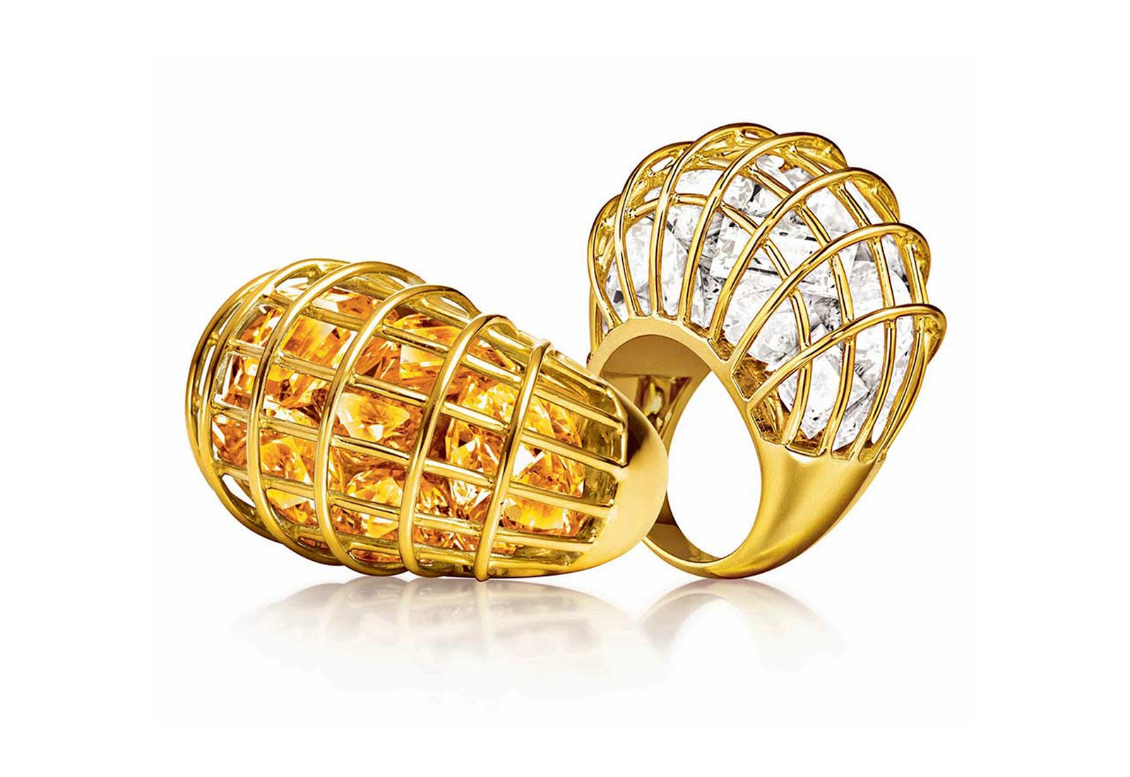 Veradura 'Cage' rings in 18k yellow gold, with citrine and rock crystal