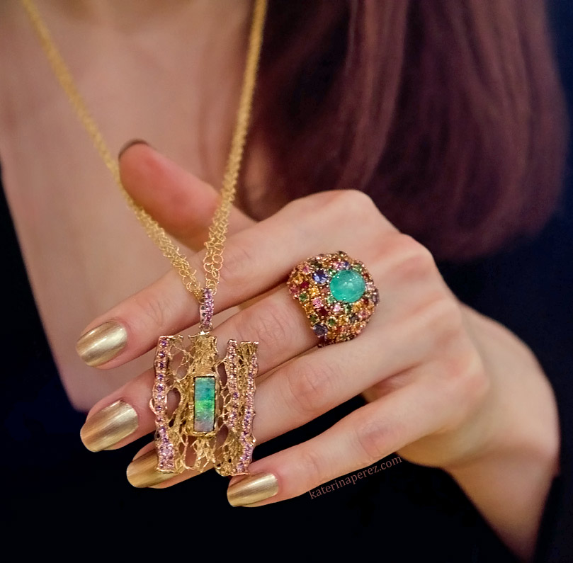 Mauro Felter gold necklace with an opal and a Paraiba tourmaline ring