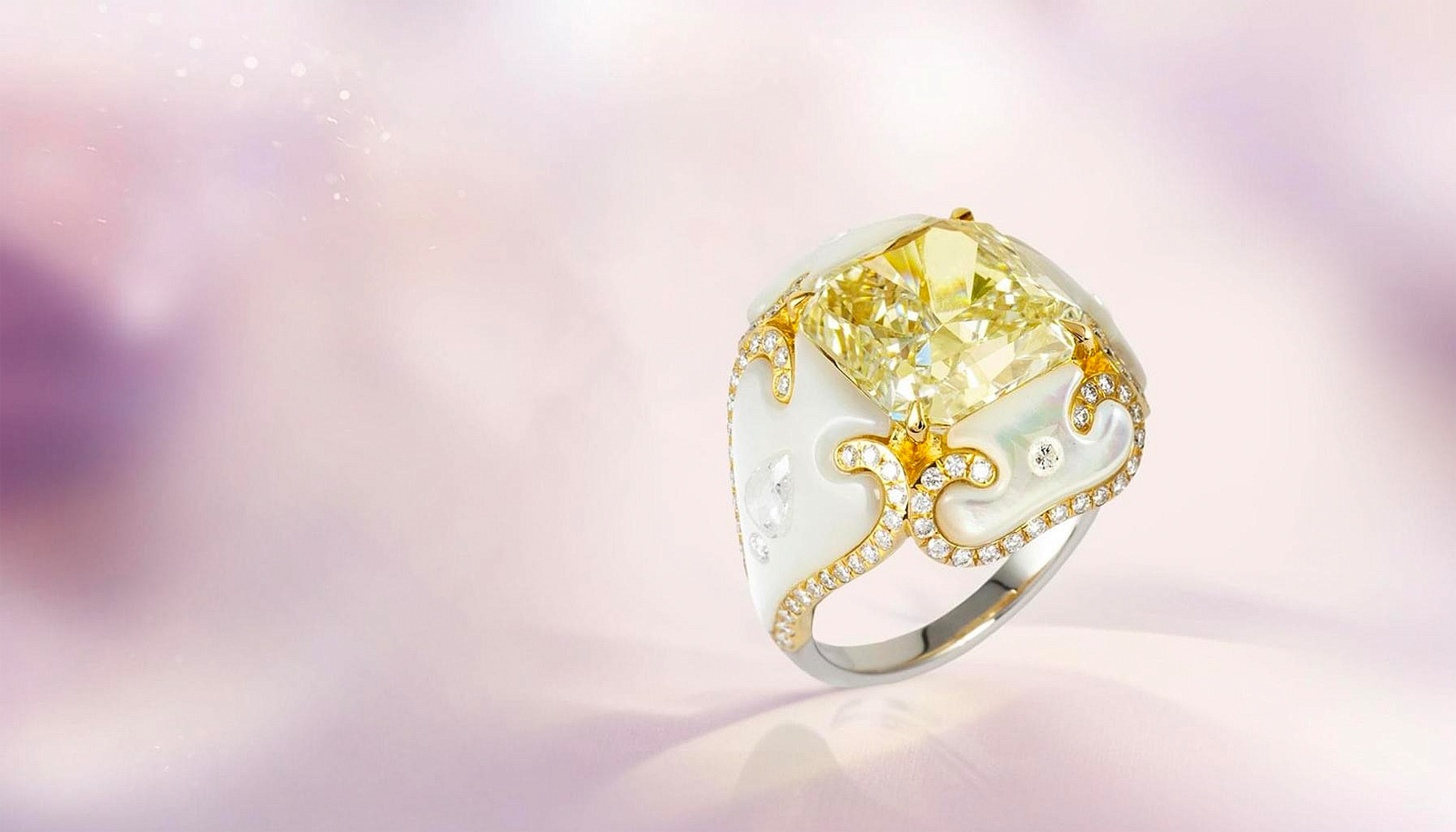 Boghossian Art of Inlay yellow diamond ring with mother-of-pearl and colourless diamonds