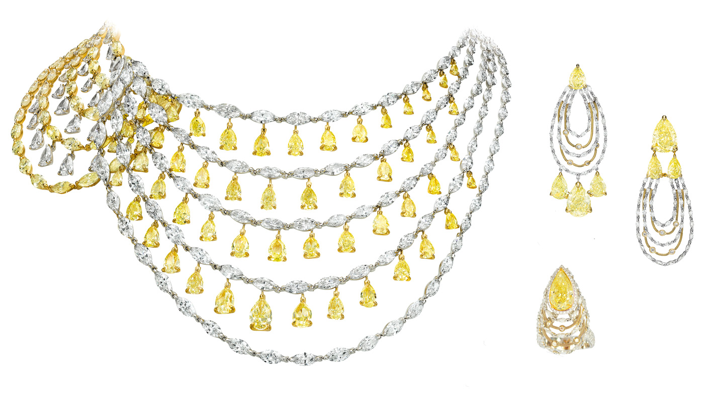 Boghossian yellow and colourless diamond set