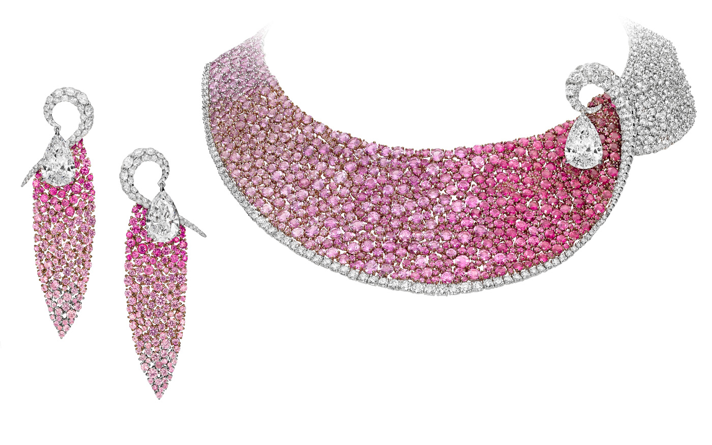 Boghossian pink sapphire and diamond set