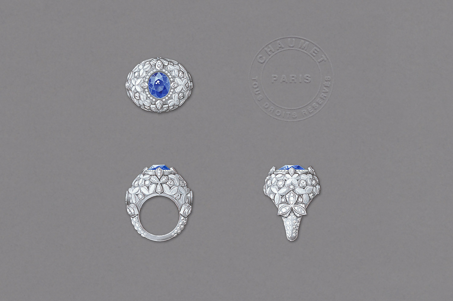 Chaumet 'Promenades Imperiales' collection ring in 18k white gold, set with a 5.08 ct Ceylon sapphire and diamonds