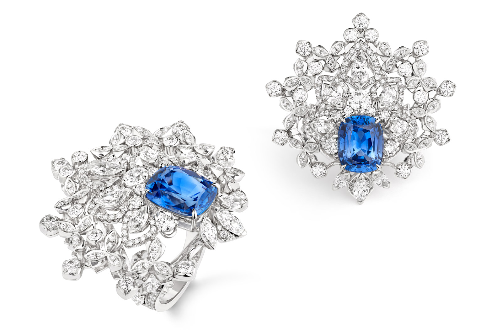 Chaumet 'Promenades Imperiales' collection ring in 18k white gold, set with a 5.01ct Ceylon sapphire and diamonds
