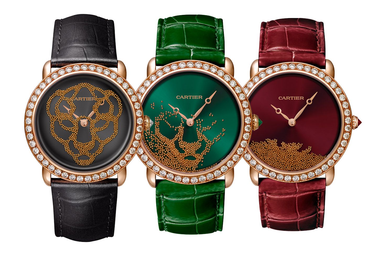 Cartier 'Révélation d'une Panthère' watches in varying colours - all with 37mm bezel set diamond 18k pink gold bezel, gold beads and alligator strap