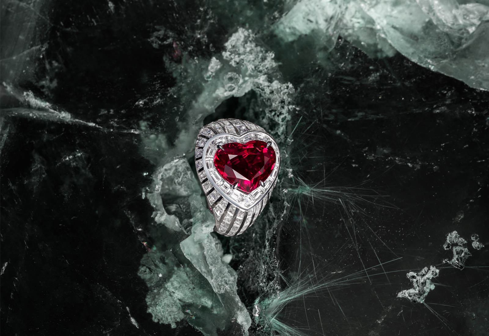 Maison Tabbah heart shaped ruby ring with baguette cut diamonds