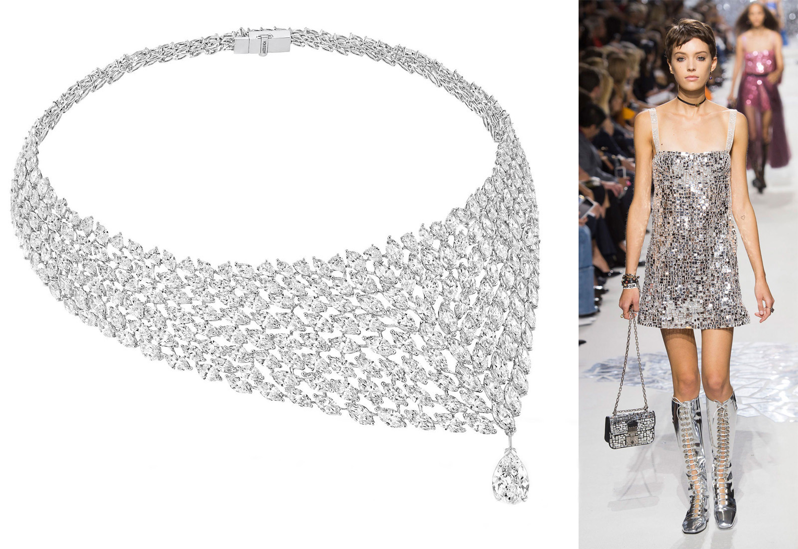 Messika 'Madeline' diamond necklace and Dior