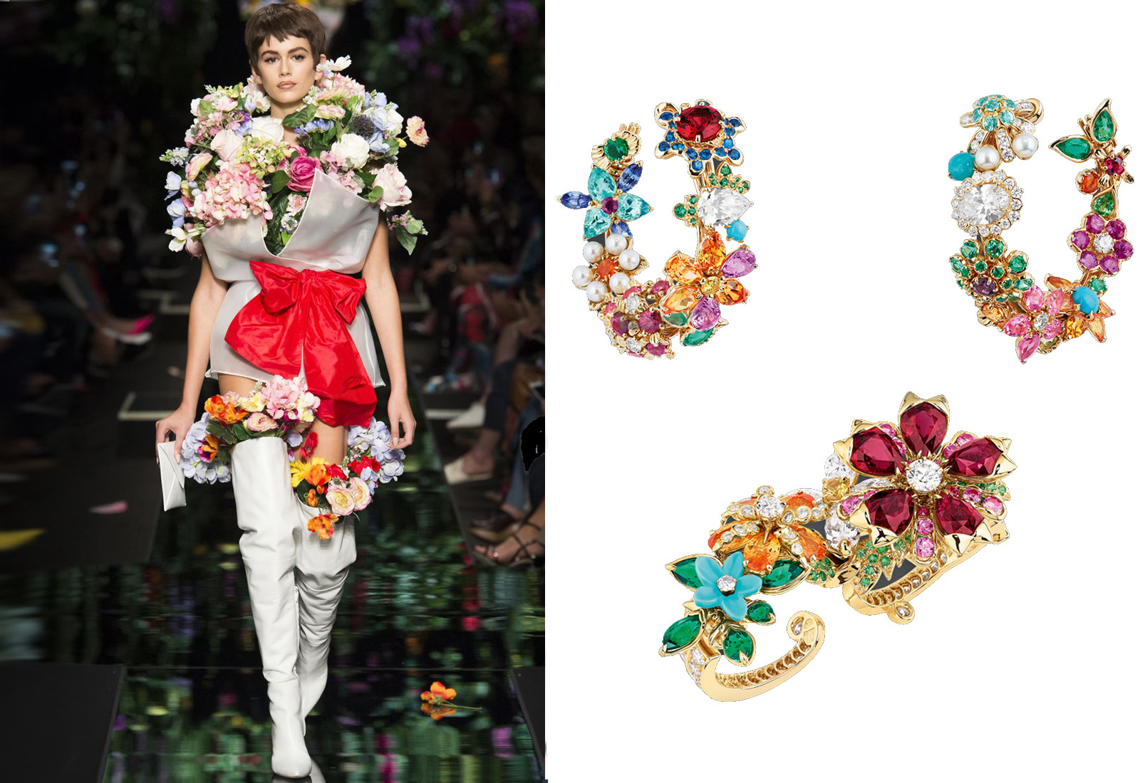 Moschino and Dior à Versailles 'Côte Jardins' double finger ring and 'Diamond Flower Garland' earrings