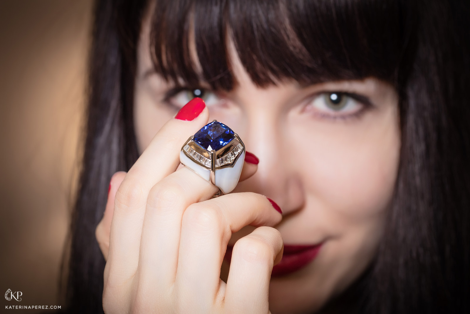 Veschetti ring with sapphires and diamonds inlaid into mother of pearl. Photo by Simon Martner for katerinaperez.com