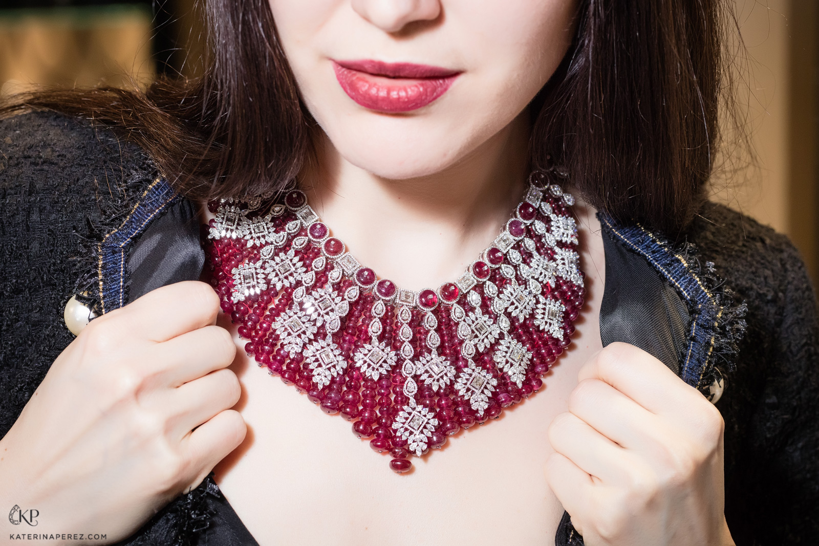 Kamyen ruby and diamond one-of-a-kind necklace