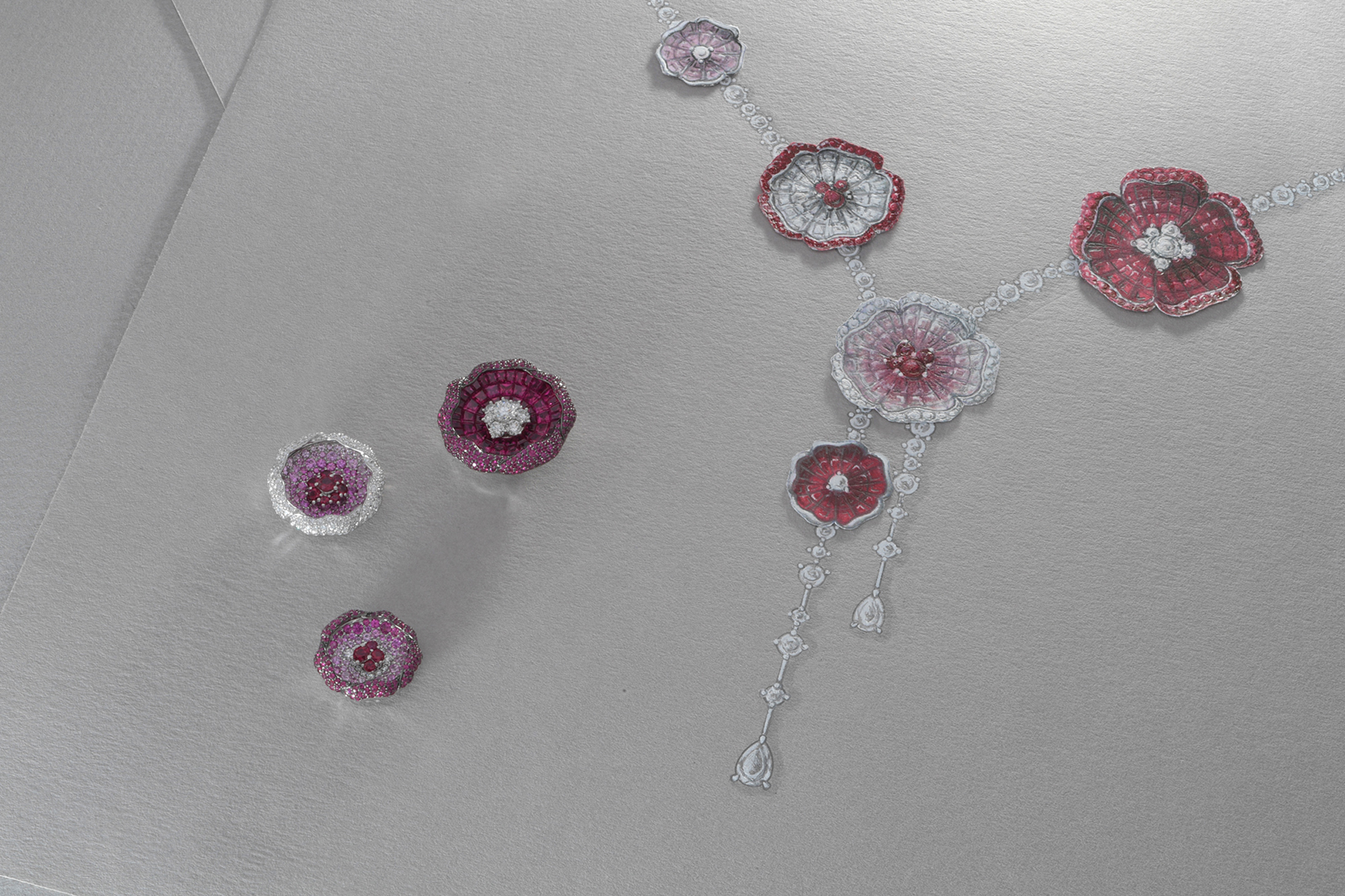 Stenzhorn Sakura necklace with rubies, pink sapphires and diamonds
