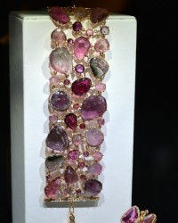 F.A.Gioielli multicoloured tourmaline bracelet with diamonds in yellow gold