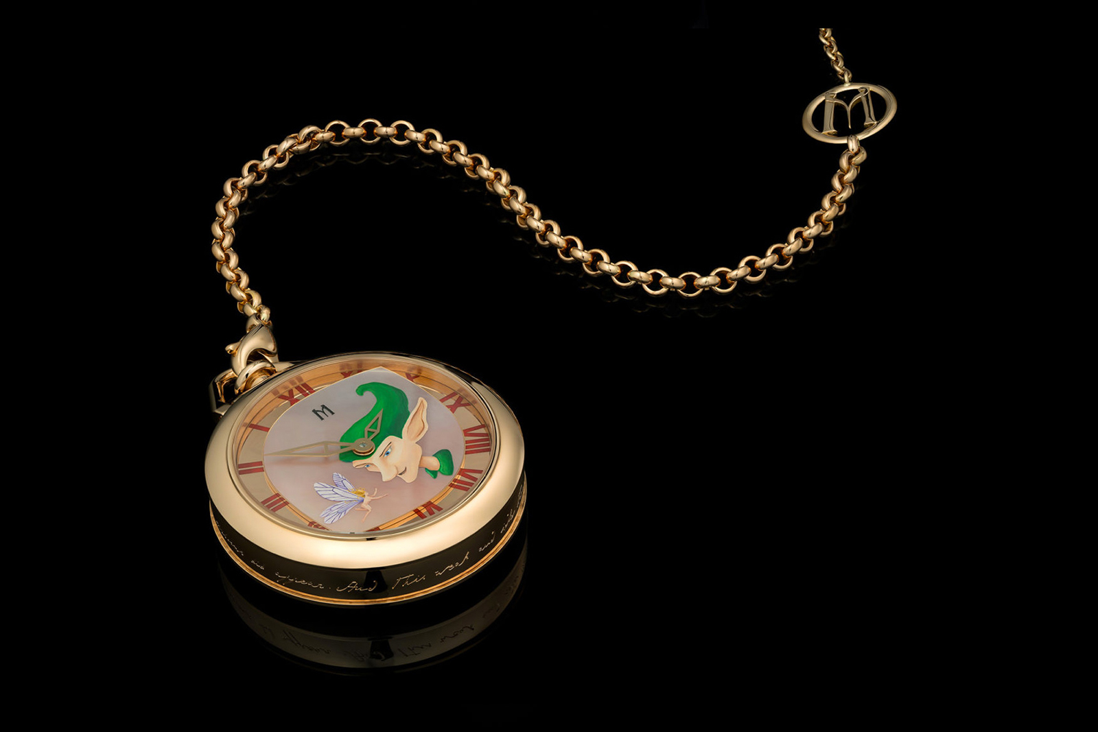 M Haute Joaillerie 'Puck' pocketwatch in 18k rose gold with cabochon emerald, and enamel painting on nacre