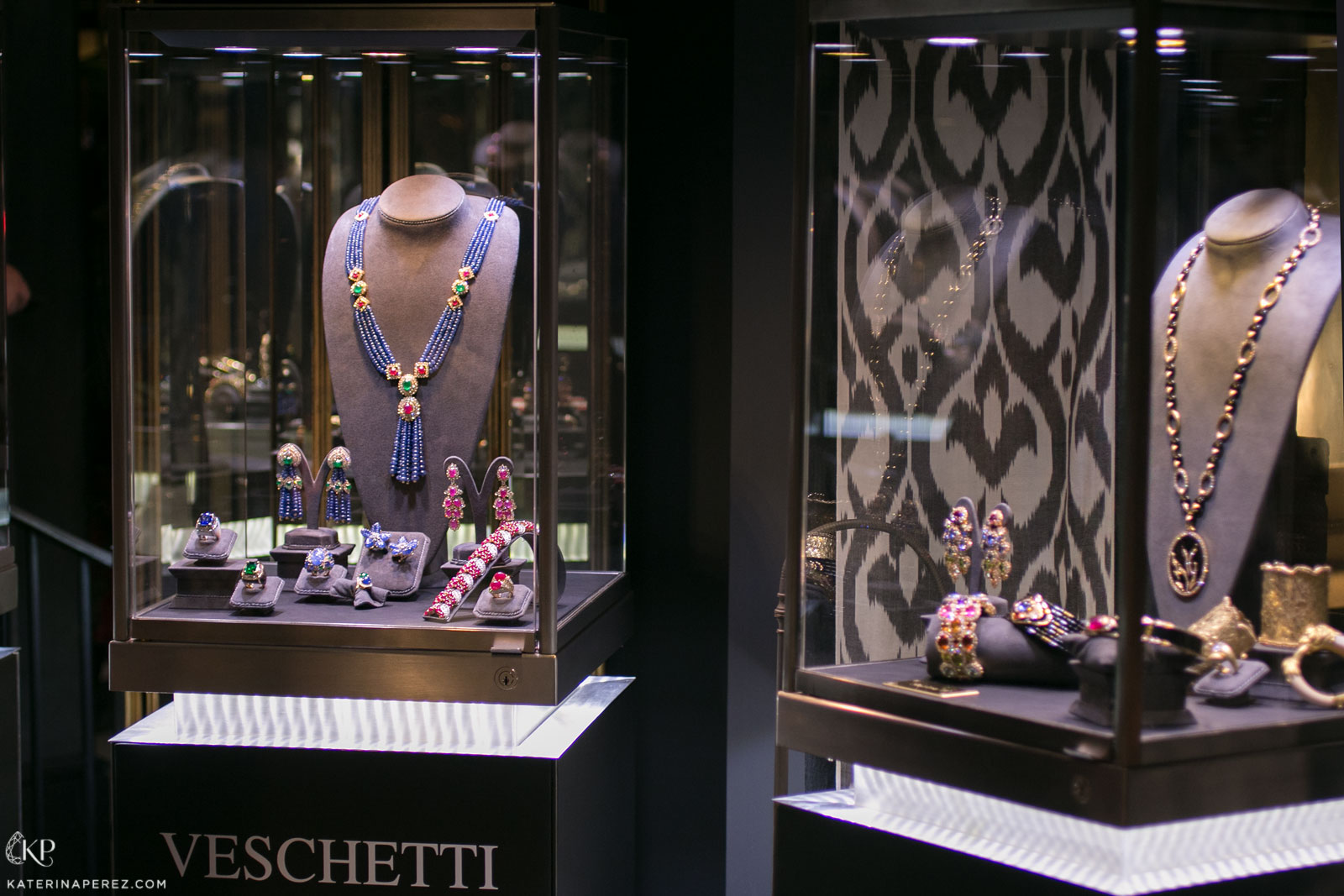 A selection of Veschetti jewellery at the private exhibition