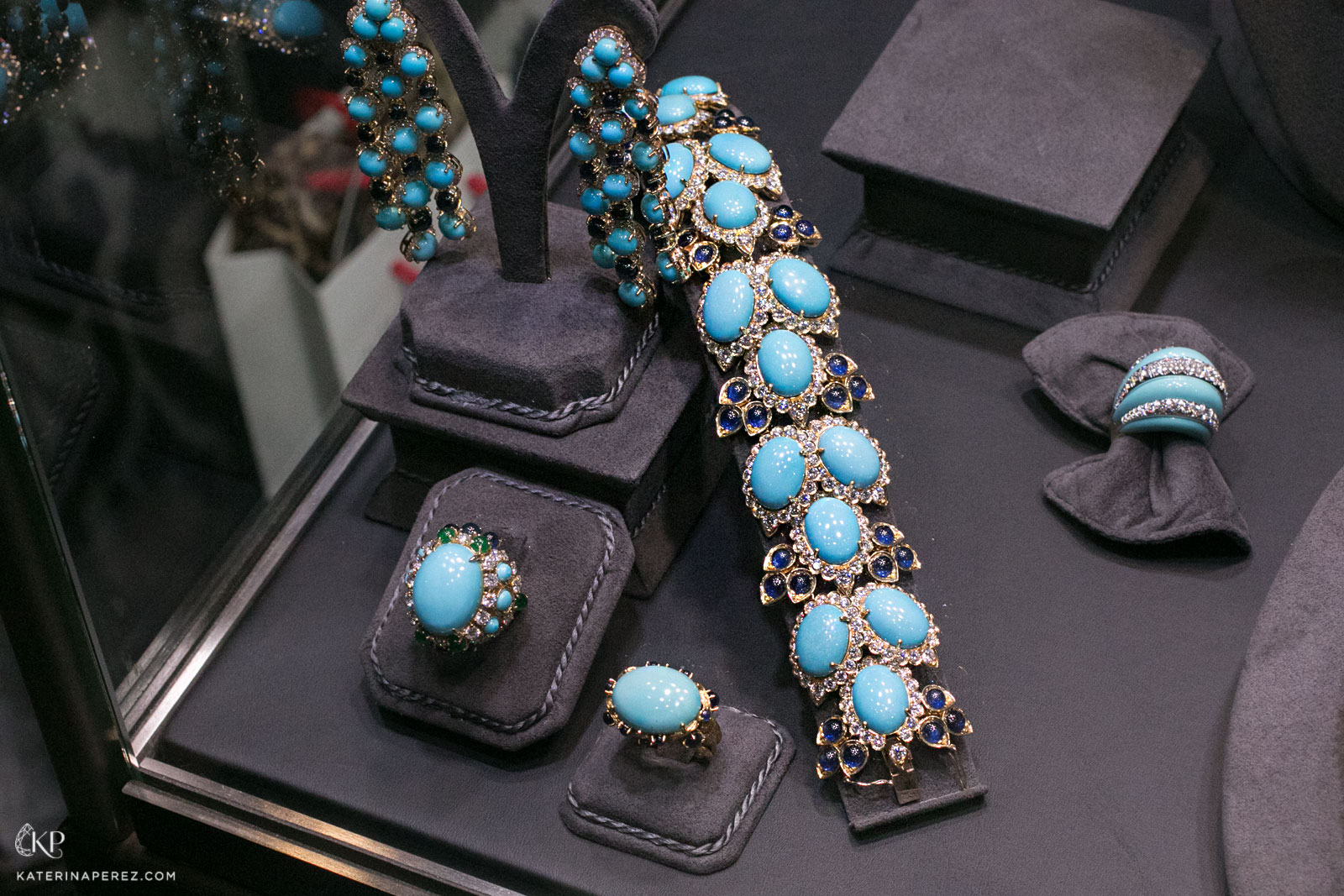 Veschetti 'Vera' bracelet, earrings and rings featuring turquoise, sapphires, emeralds and diamonds