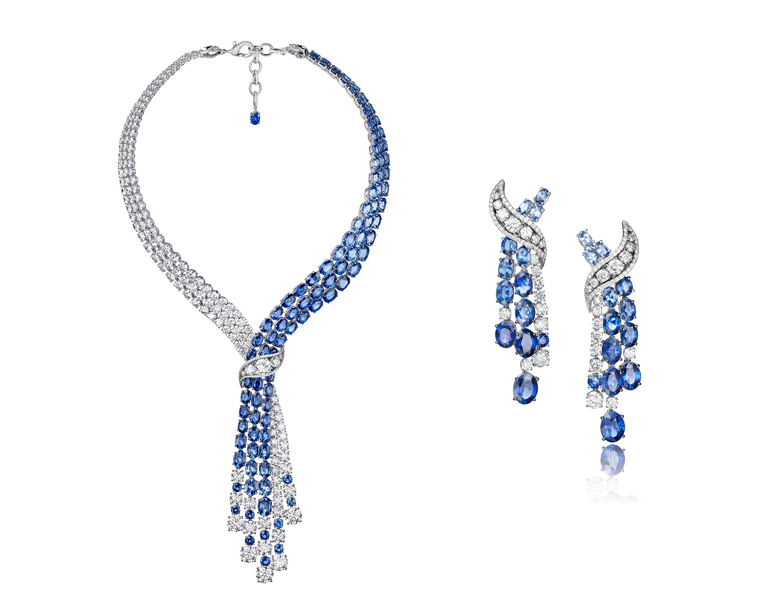 Arctic Tango earrings with sapphires and diamonds by Adler