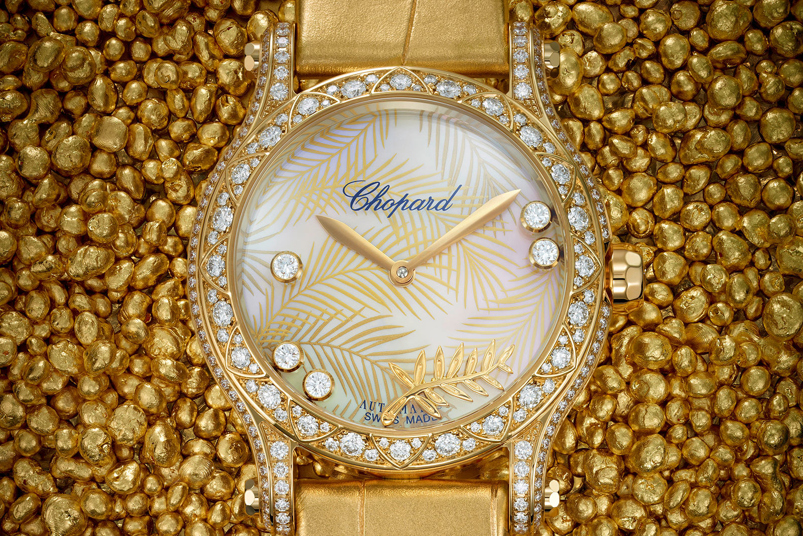 Chopard 'Happy Palm' watch in 100% ethically fair mined 18k gold, mother of pearl dial and brilliant cut diamonds