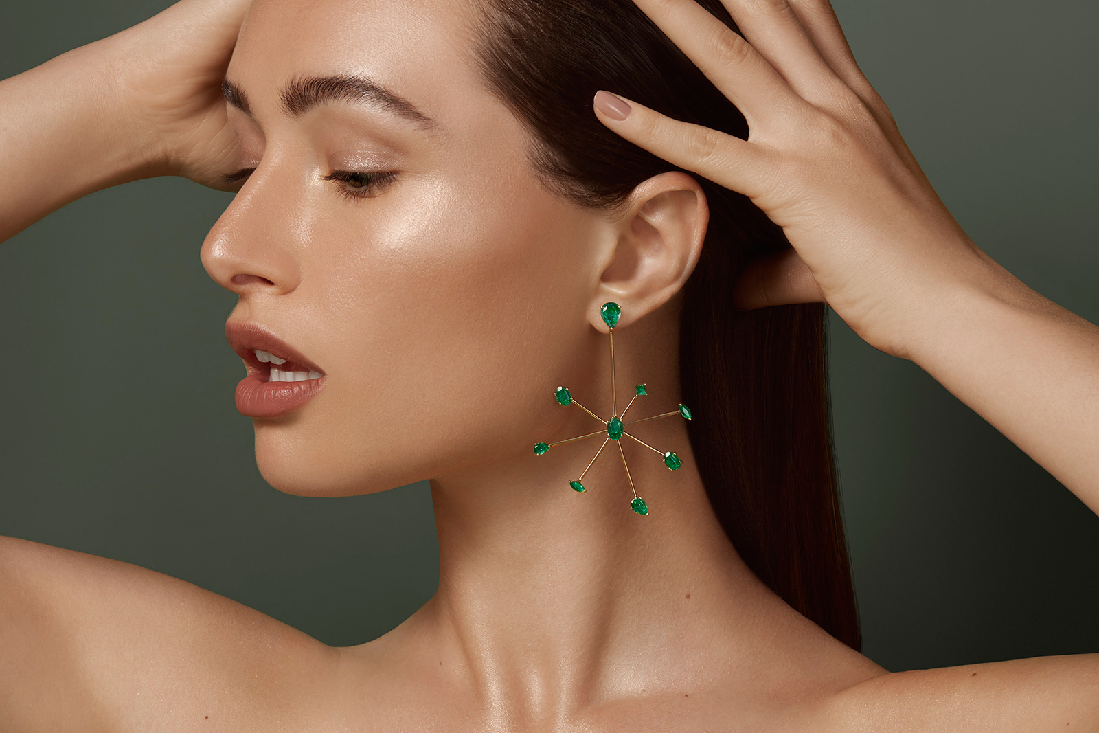 House of Meraki 'Jellyfish' emerald earrings