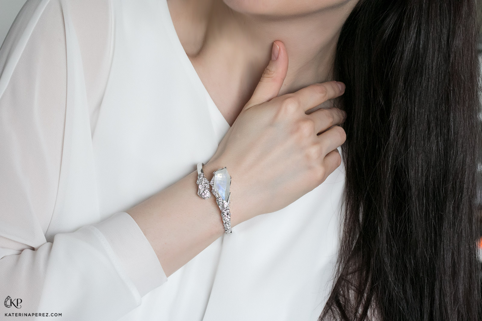 Neha Dani 'Pasterze' bangle from 'Glacier' collection in moonstone and diamonds