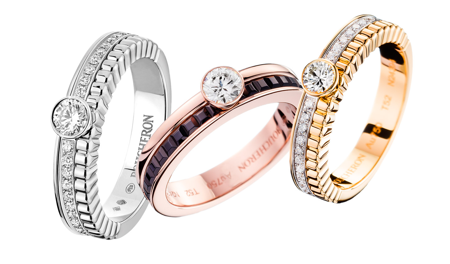Boucheron 'Quatre Radiant' diamond engagement rings in white gold and yellow gold, with 'Quatre Classique' diamond engagement ring in rose gold with brown diamonds