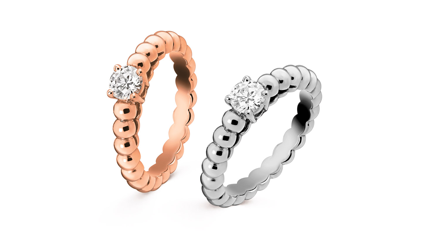 Van Cleef & Arpels 'Perlée solitaire' rose gold and white gold diamond engagement rings