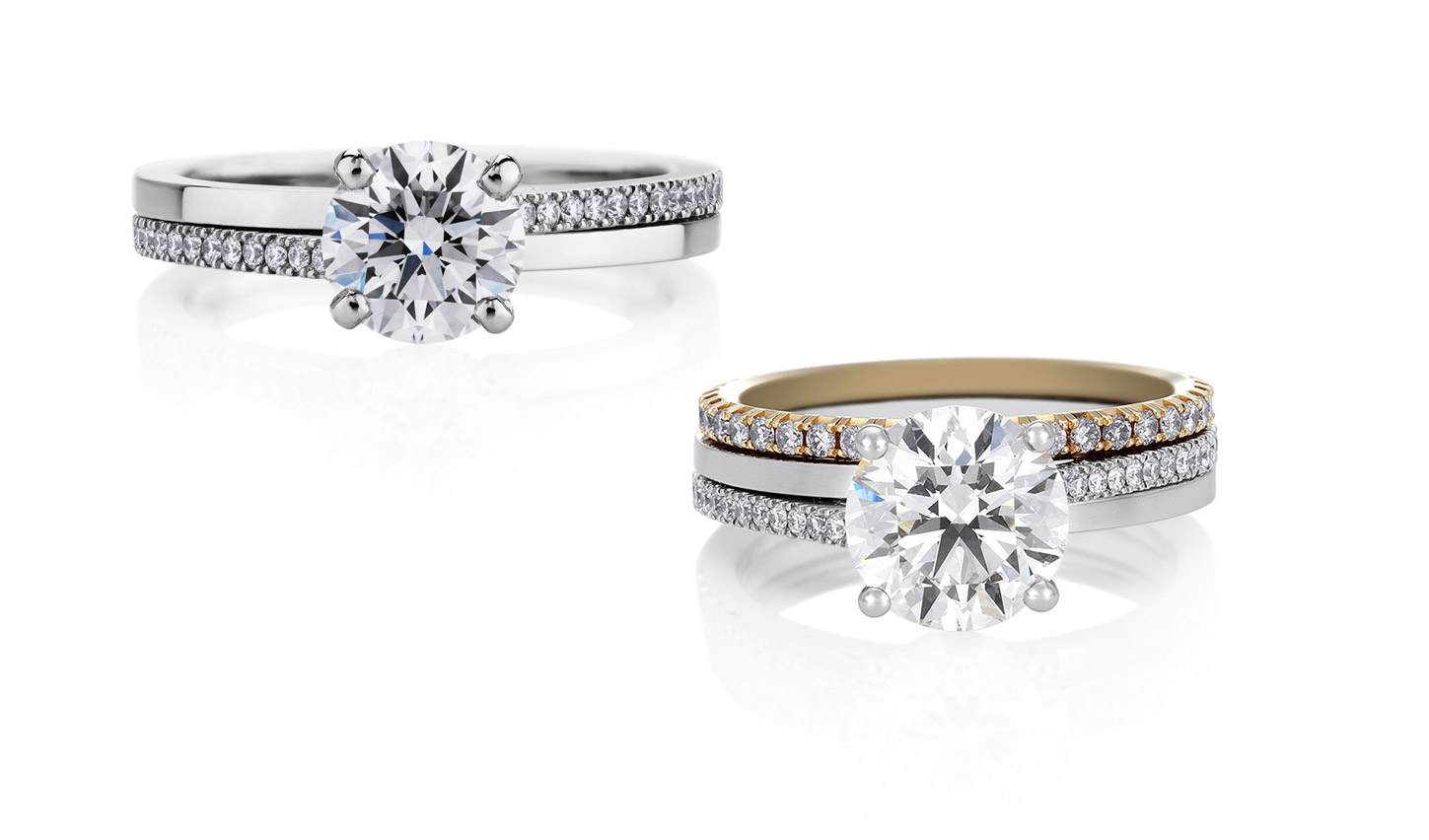 De Beers 'Promise' diamond engagement rings in white and yellow gold