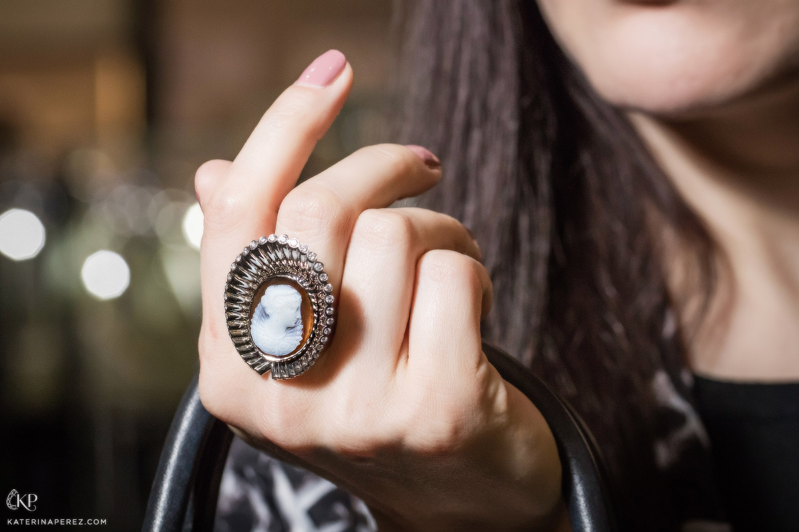 Hannah Martin re-purposed antique cameo ring with diamonds. Photo by Simon Martner