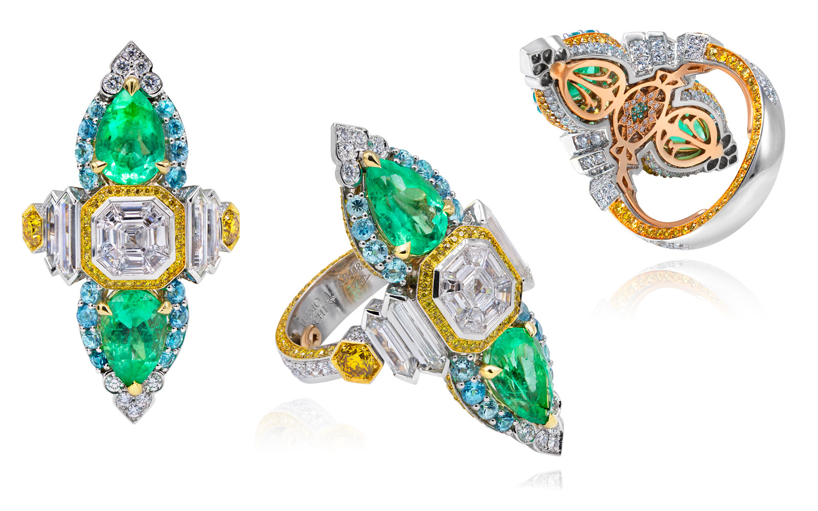 Alessio Boschi Peacock Dance ring with emeralds, diamonds and Paraiba tourmalines