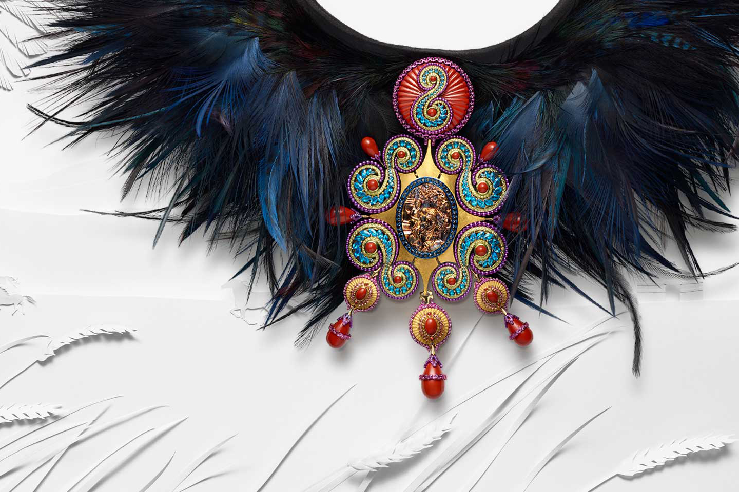 Chopard 'Red Carpet Collection' choker in gold cameo, blue apatites, violet garnets and red jasper with rooster, grey heron, ostrich and black pheasant feathers