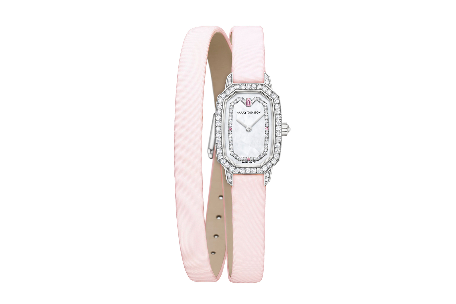 Harry Winston 'Emerald' watch with diamonds, pink sapphires and a mother of pearl dial