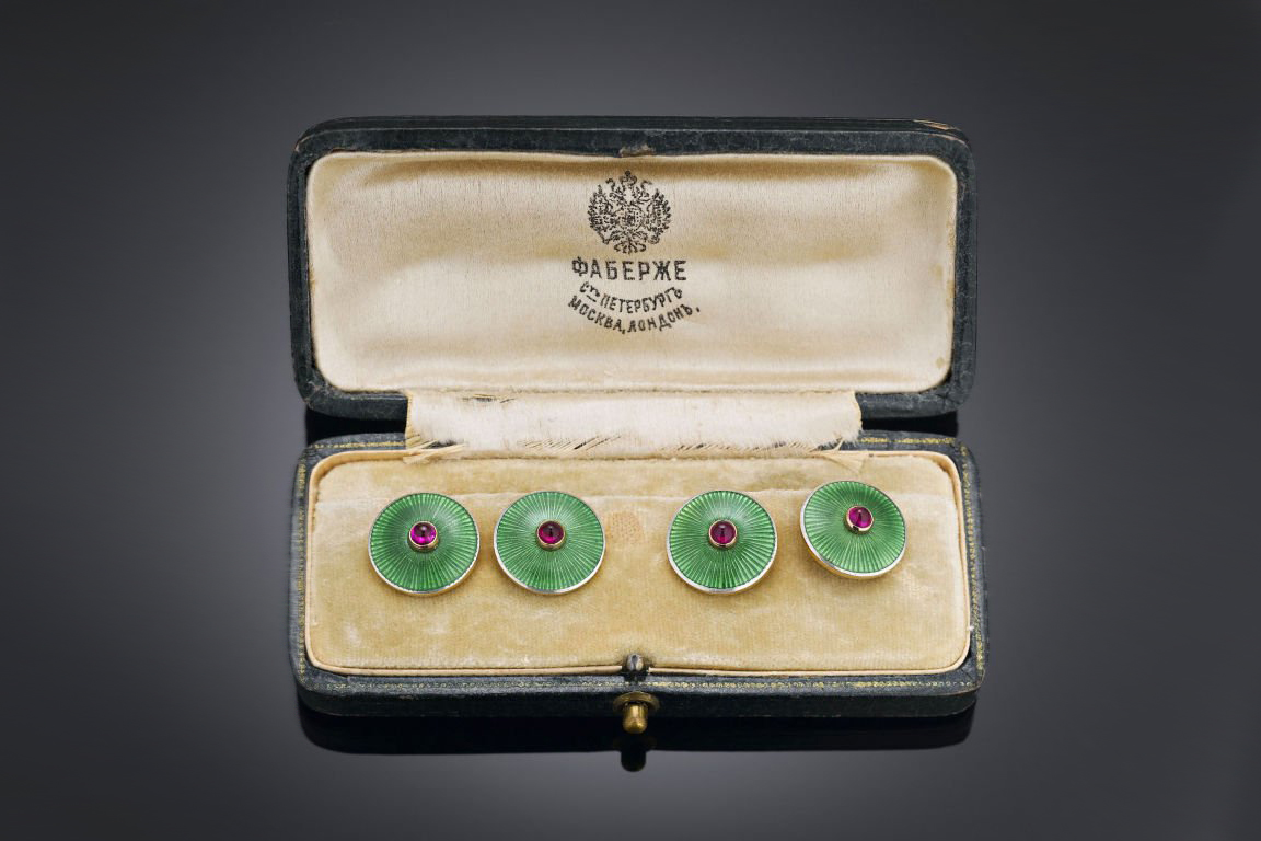 Fabergé antique ruby and green guilloché enamel cufflinks