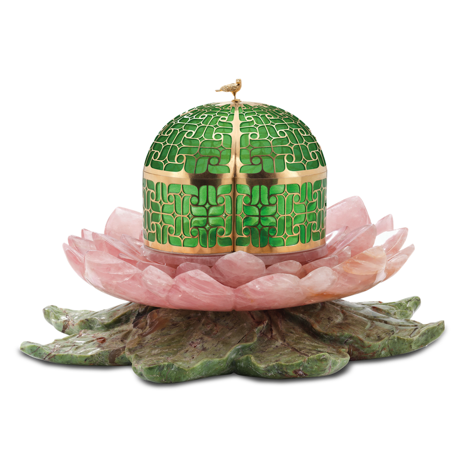 Solange Azagury-Partridge 'Secret Garden' jewellery box in jade, rose quartz, aventurine and yellow gold