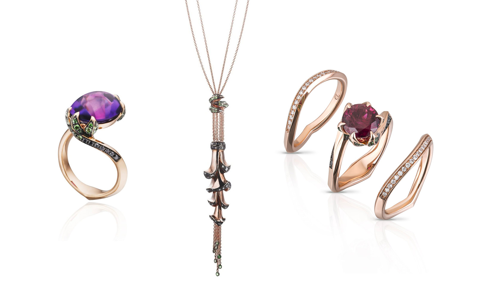 Tomasz Donocik 'Garden of Good & Evil' rings and pendant