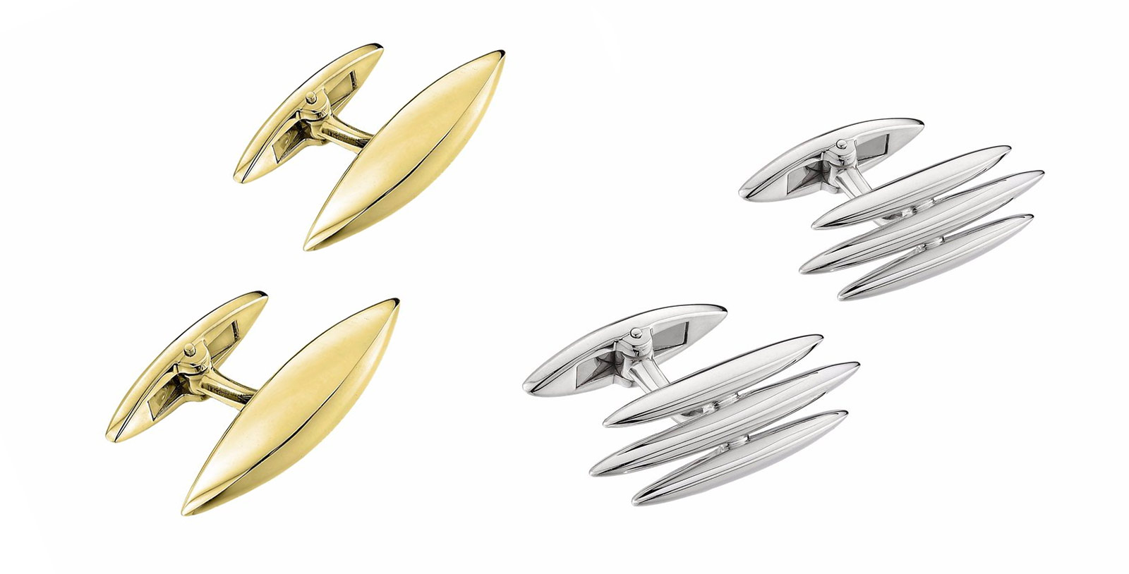 Shaun Leane's 'Arc' and 'Triple Arc' cufflinks in gold plated silver and silver