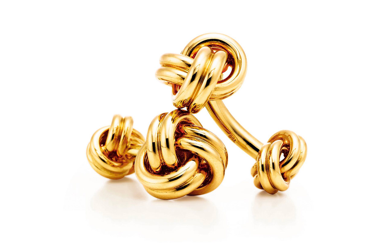 Tiffany&Co. 'Knot' cufflinks in 18K yellow gold