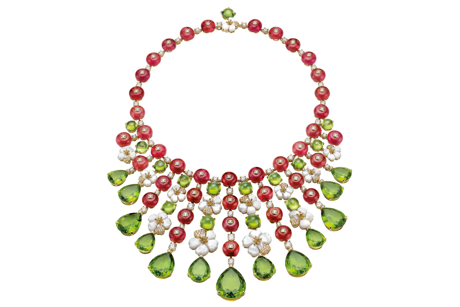 Bulgari's 'Giardini Italiani' necklace with peridot, mother of pearl, diamonds and rubies