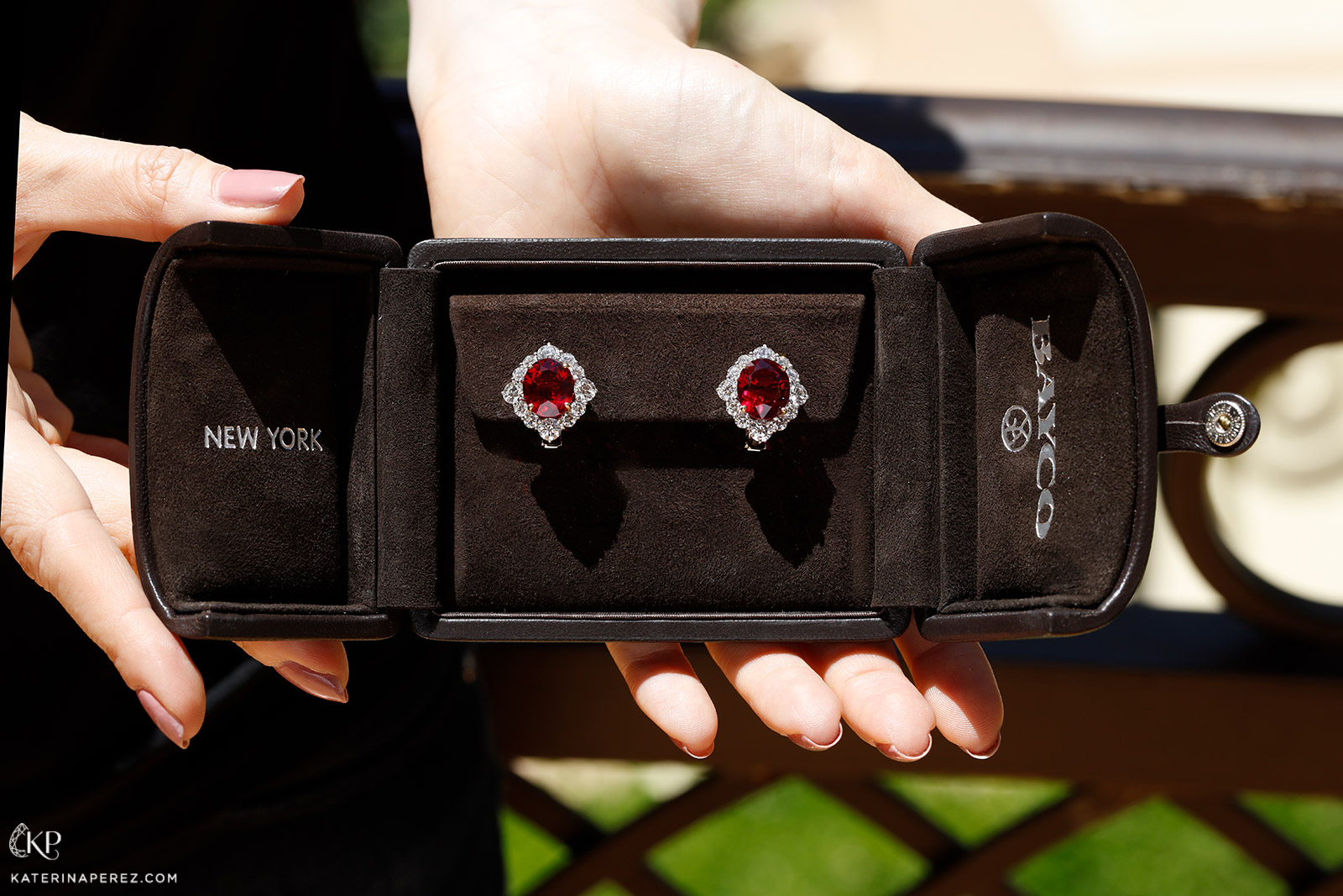 Bayco ruby earrings with diamonds
