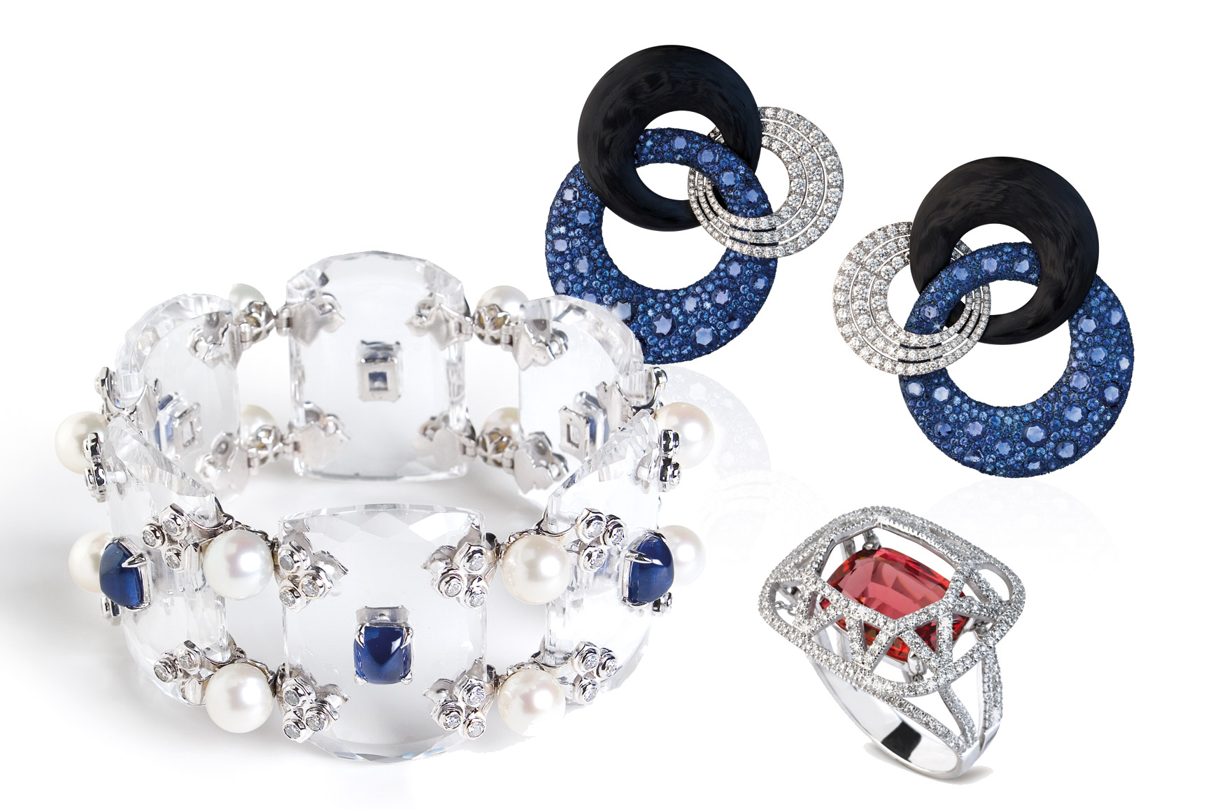 Fabio Salini 'Crystal' bracelet in rock crystal, blue sapphires, pearls and diamonds. Earrings in gold, titanium, carbon fibre, sapphires, and diamonds. 'Cage' ring in peach spinel, diamonds and gold