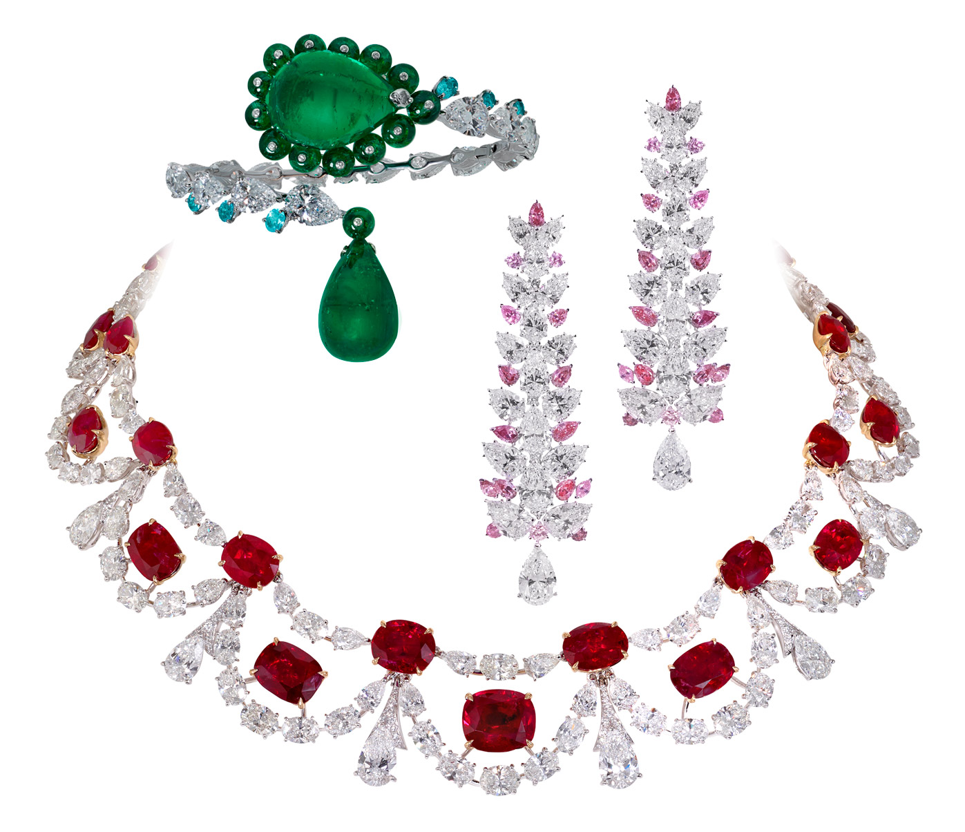 Moussaieff necklace in 77.06ct Burmese rubies and 60.77ct diamonds. Bangle in 71.34ct emeralds, diamonds and Paraiba tourmalines. Earrings in pink and colourless diamonds and platinum