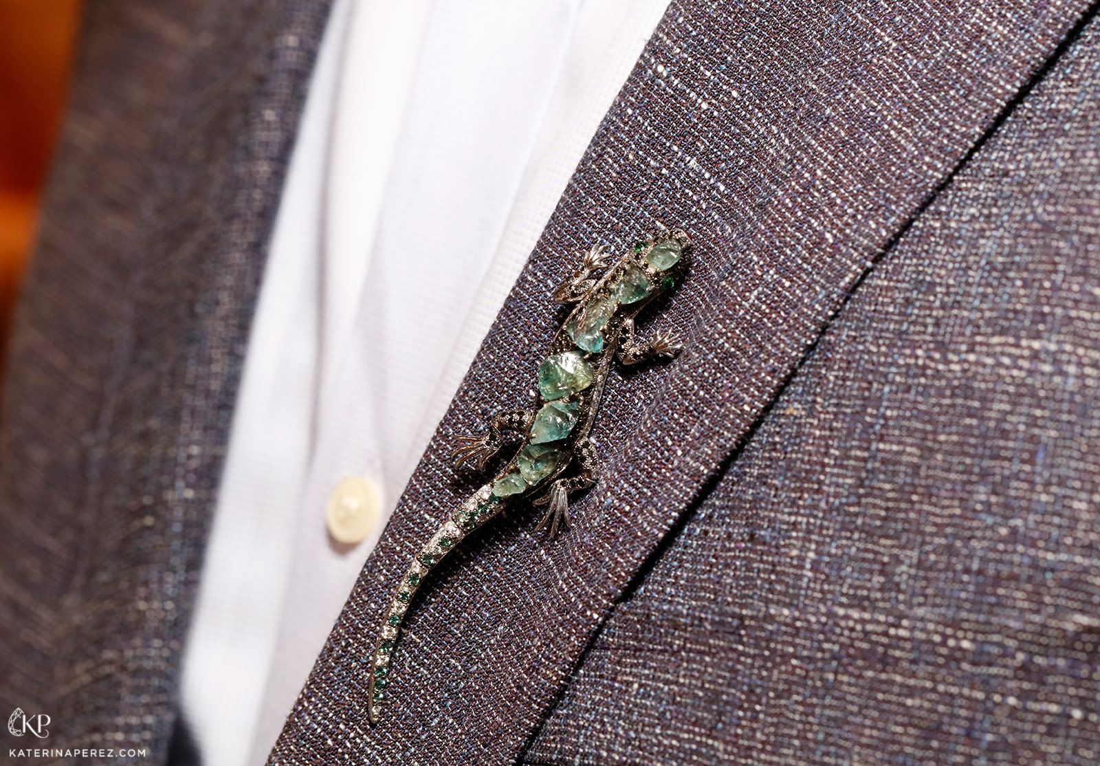 Omi Privé's 'Alexis' the Lizard, in unfaceted alexandrites