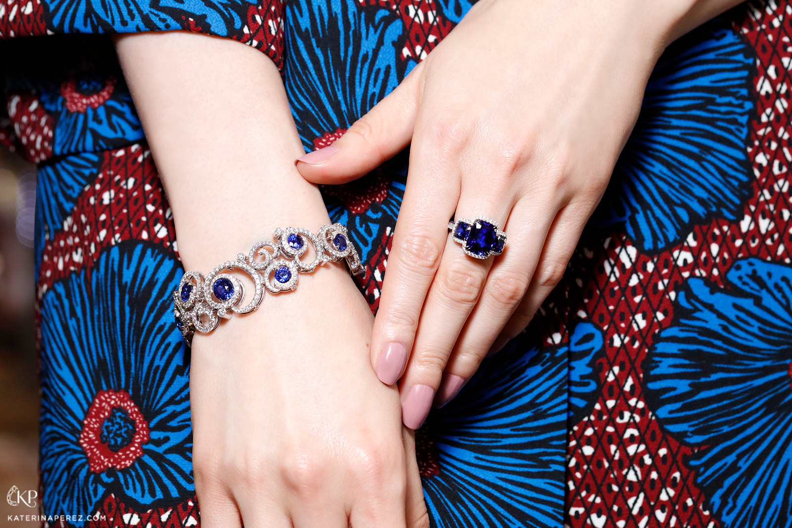 Omi Privé sapphire and diamond trilogy ring and sapphire and diamond bracelet