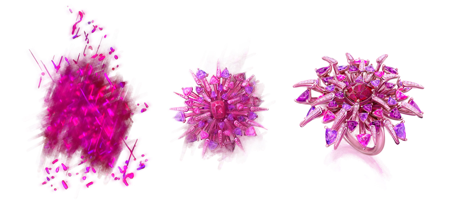 The design inspiration and inception of Gübelin's 'Red Dahlia' ring