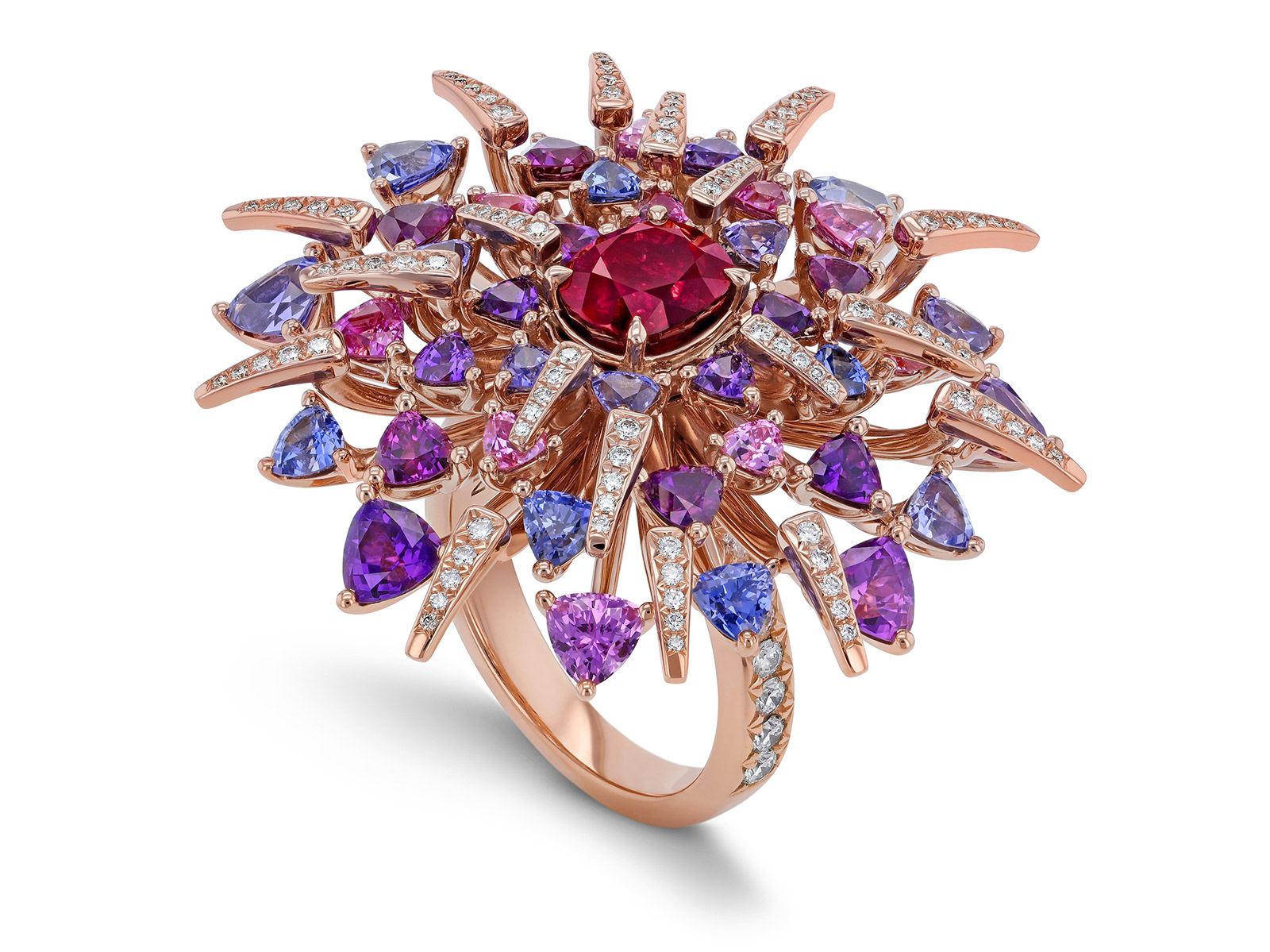 Gübelin 'Red Dahlia' ring with oval cut 2.18ct Burmese ruby, trillion cut sapphires and brilliant cut diamonds