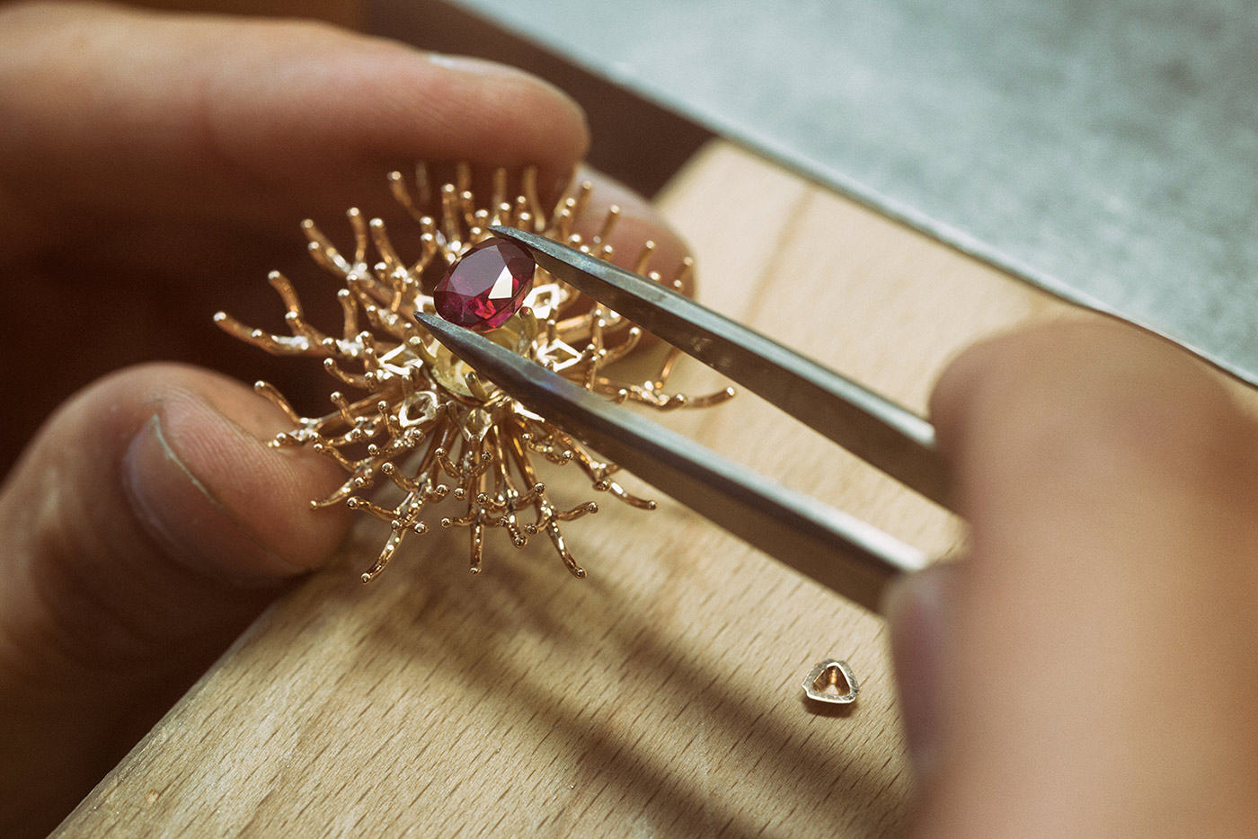 The making of Gübelin's 'Red Dahlia' ring, with the central Burmese ruby being set