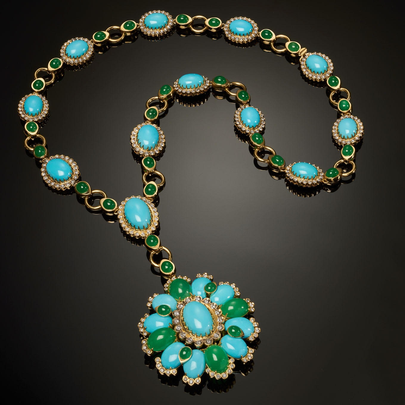 Veschetti turquoise, emerald and diamond necklace