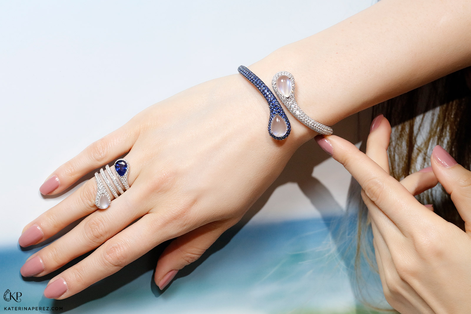 Maria Canale 'Drop' bangle and ring in moonstone, sapphire and diamonds