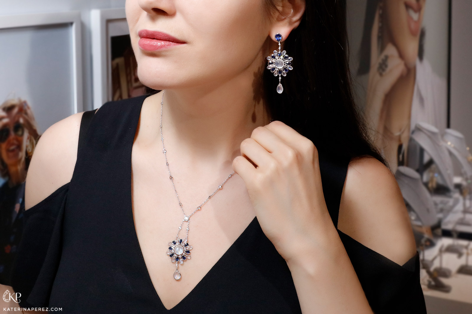 Maria Canale 'Drop' Flower earrings and necklace in moonstone, sapphire and diamonds