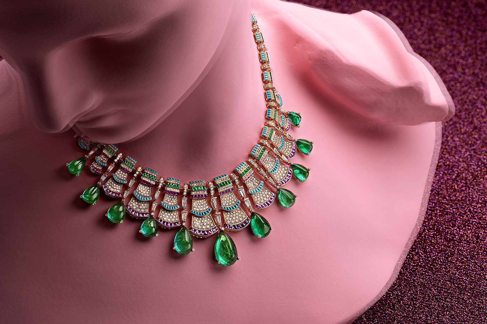 Bvlgari 'Precious Ruffles' necklace from 'Roaring 80s' line in 65.44ct drop cut Zambian emeralds, amethysts, emeralds, turquoise, and diamonds