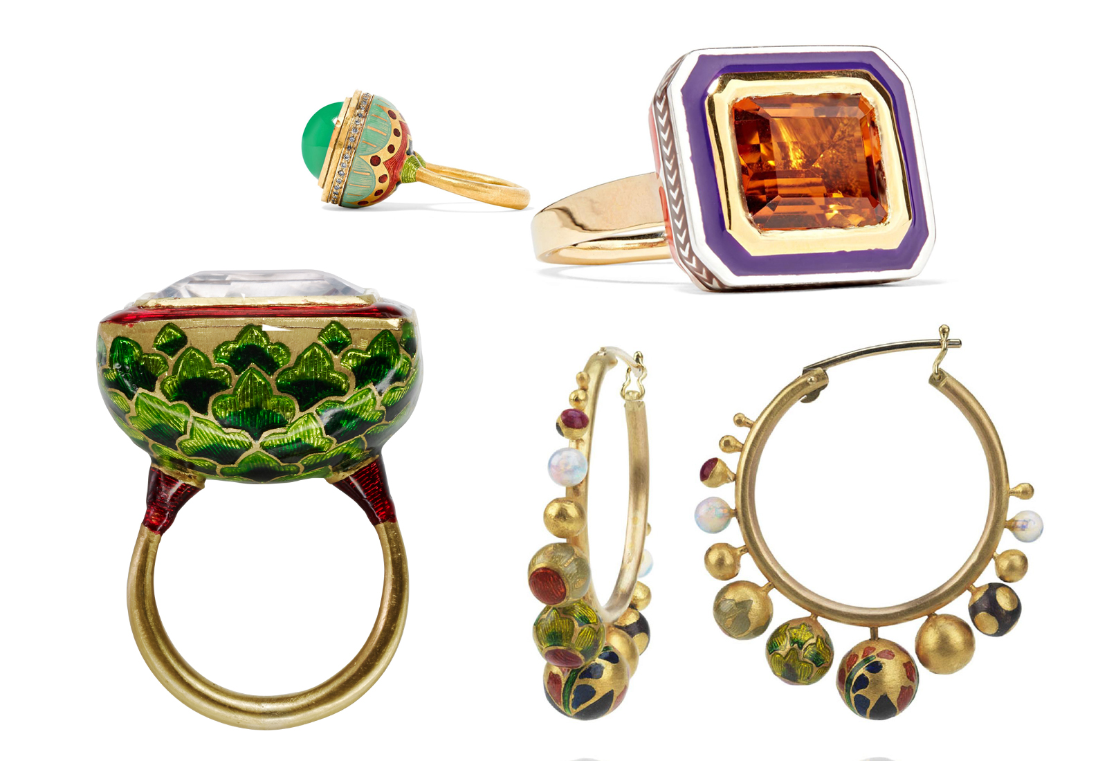A selection of Alice Cicolini champléve enamel jewellery with gemstones in yellow gold